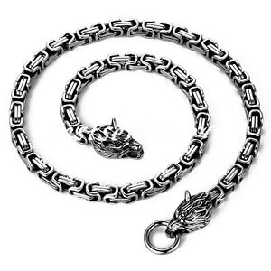 """Mens Stainless Steel Wolf Head Norse Viking King Byzantine Chain Necklace 25"""""""