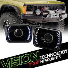 7X6 Black Clear Glass Lens White Led Projector Headlights Kit H4 H6052 H6054 V02