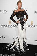 New White And Black Mermaid Celebrity Dresses Wedding Lace Formal Evening Gowns