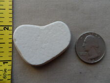 GENUINE BEACH SEA GLASS POTTERY WHITE SURF TUMBLED WELL FROSTED HEART SHAPE J1