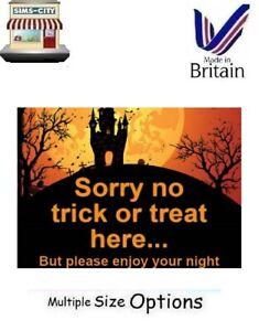 SORRY NO TRICK OR TREAT HERE HALOWEEN SIGN SHOP BUSINESS DOOR HOME STICKER TOT2