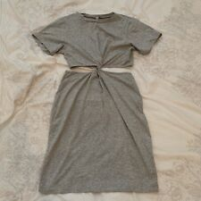 Grey ASOS tshirt dress with knot detail, Size 10