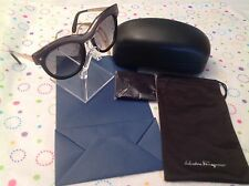 NEW SALVATORE FERRAGAMO SF774S 020 SHINY BLACK/GOLD GREY DESIGNER ROUND SUNGLAS