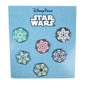 Disney Parks 6 Pin Booster Set 2016 Star Wars Snow Flakes Darth Vader Yoda NEW