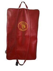 "Vintage Cardinal & Gold Garment Bag Luggage USC TROJANS 24.5"" Wide x 40"" Long"