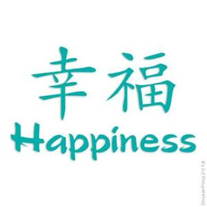 Happiness Chinese Symbols Decal Sticker Choose Color + Size #2631