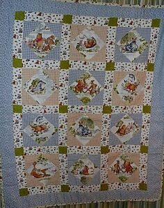 Vintage Winnie the Pooh & Friends ' DAY IN THE PARK ' Crib / Baby Quilt Blanket