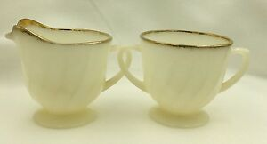 Vintage FIRE KING White Swirl Creamer & Open Sugar Bowl Oven Ware Gold Trim USA