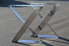 Polished Stainless Zig Zag Metal Table Bench Desk Legs/Base