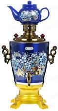 Russian Samovar Electric Kettle Tea Teapot Painted Khokhloma USSR Alice blue