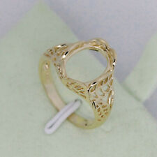 Filigree 14K Yellow Gold Oval 8x13mm Cabochon Semi mount Ring Setting