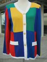 Vintage Eric Steven knit long cardigan. Color block. Signature buttons. Size 8.