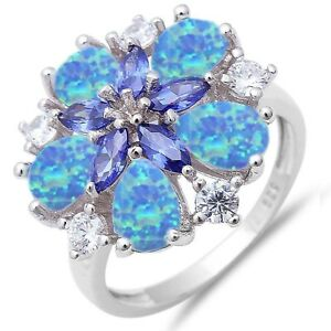 Blue Opal Flower Drop Tanzanite Marquise Simulated Diamond Sterling Silver Ring