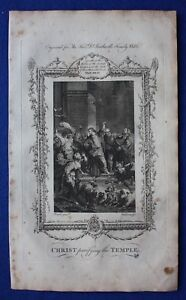 Original antique print CHRIST PURIFYING THE TEMPLE, Dr. Southwell's Bible, 1774