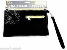 "Travelon Wallet Clutch Travel Wristlet BLACK 8.5x5"" Organizer Embroidered Flover"