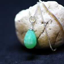 Natural Green Chrysoprase Pendant Solid Sterling Silver 18th Anniversary Canada
