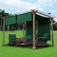 2pcs 15.5x4Ft Pergola Canopy Replacement Cover Green UV Block 180g w/ Valance