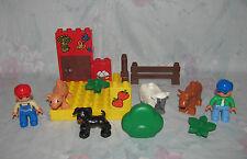 Lego Duplo Farm Lot - Sheep, Pig, Cow, Black Dog; 2 Farmer Figures -Modern Style