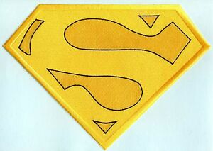 """7"""" x 10"""" Embroidered Christopher Reeve Yellow & Black Superman Cape Logo Patch"""