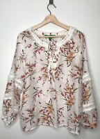 DIP Brand Womens White Sheer Multicolor Floral Butterfly Tunic Top Blouse Size L