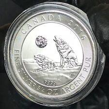 2016 Canada Grey Wolf Howling 2 Dollars 3/4 Oz .9999 Silver ASW Crown Gem BU #1