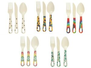 Adult Kids Bamboo Cutlery Set Spoon Fork Wooden Eco Reusable Natural Bee Flower