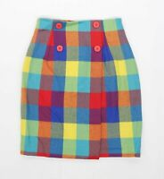 Golf & Green Womens Size 8 Wool Check Multi-Coloured Skirt (Regular)