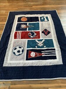 "Pottery Barn PB Teen Sports Twin Quilt 68"" x 86"""