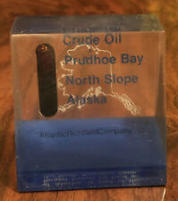 Vintage LUCITE EXECUTIVE PAPERWEIGHT PRUDHOE BAY NORTH SLOPE ALASKA CRUDE OIL