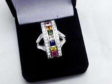 2.48Ct Genuine Natural Multi Color Sapphire & Diamond Ring Solid 14K White Gold.