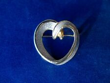 Vintage Silver/Gold Tone Heart Shaped Brooch - Vintage Costume Jewellery