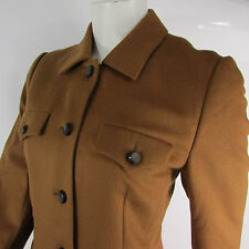 Escada Women Camel Brown Angora Wool 4 Pockets Long Jacket Coat Size 36/ US 2