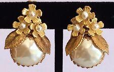 Vintage Miriam Haskell Earrings~Baroque Pearl/Seed Pearls/GoldTone Filigree~Sign
