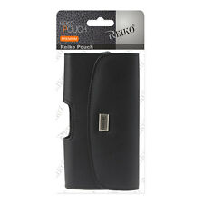 Reiko Black Belt Clip Holster Full Leather Cellphone Pouch Fits Large