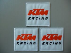 PATCH KTM RACING BIANCO PZ 3 RICAMATE TERMOADESIVE CM 5X5  -REPLICA -COD.509