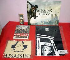 Assassins Creed Unity Press Kit, Disc, Gamescom Guillotine Opener, T-Shirt & Bag
