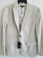 INC International Concepts Mens L Beige Slim Fit Linen Rayon Blazer