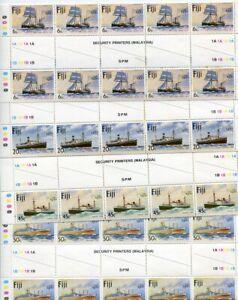 FIJI....  1980  ships 'london 80' set in gutter plate blocks of 10  mnh