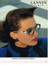 PUBLICITE ADVERTISING 044   1986   LANVIN  boutique   lunettes optique