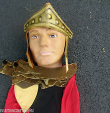 GLADIATOR MAN HALLOWEEN COSTUME CAPE TUNIC BELT HEADPIECE LEG TIES ARM GUARDS