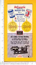 7233 Atlantic Motor Oil c 1965 mechanical trade card Almen Testing Machine car