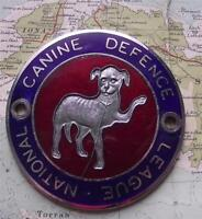 c1960 Old Vintage Car Mascot Badge for Dogs National Canine Defence League
