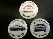 """3-PK LIMO DRIVER LINCOLN 1-1/4"""" Pinback Buttons, NEW"""