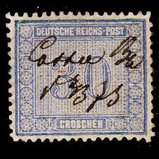 1872 Germany #13 30gr Pen Cancel Small Shallow Spot Thin Well Centered