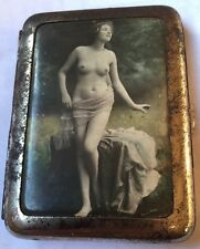 NUDE Risqué  Woman Cigarette Case Photo Celluloid Cover WW1 Germany Farulein SEX