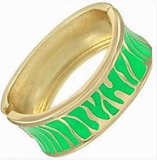 Green Gold Bangle Bracelet Zebra Animal Print  Enamel Metal Hinged Women Fashion