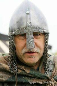 Medieval Viking Steel Helmet Norman Nasal Helmet Chain Mail Viking Armor Helmet