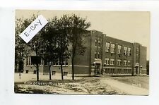 Rugby ND (Pierce Co) RPPC real photo High School, students, vintage postcard