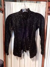 Beautiful Antique Victorian Jet Black Mourning Glass Beaded Jacket Bodice sz Xxs