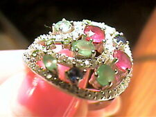 SAPPHIRE EMERALD SILVER RING 8 ruby WHITE GOLD STERLING CLUSTER NATURAL 925
